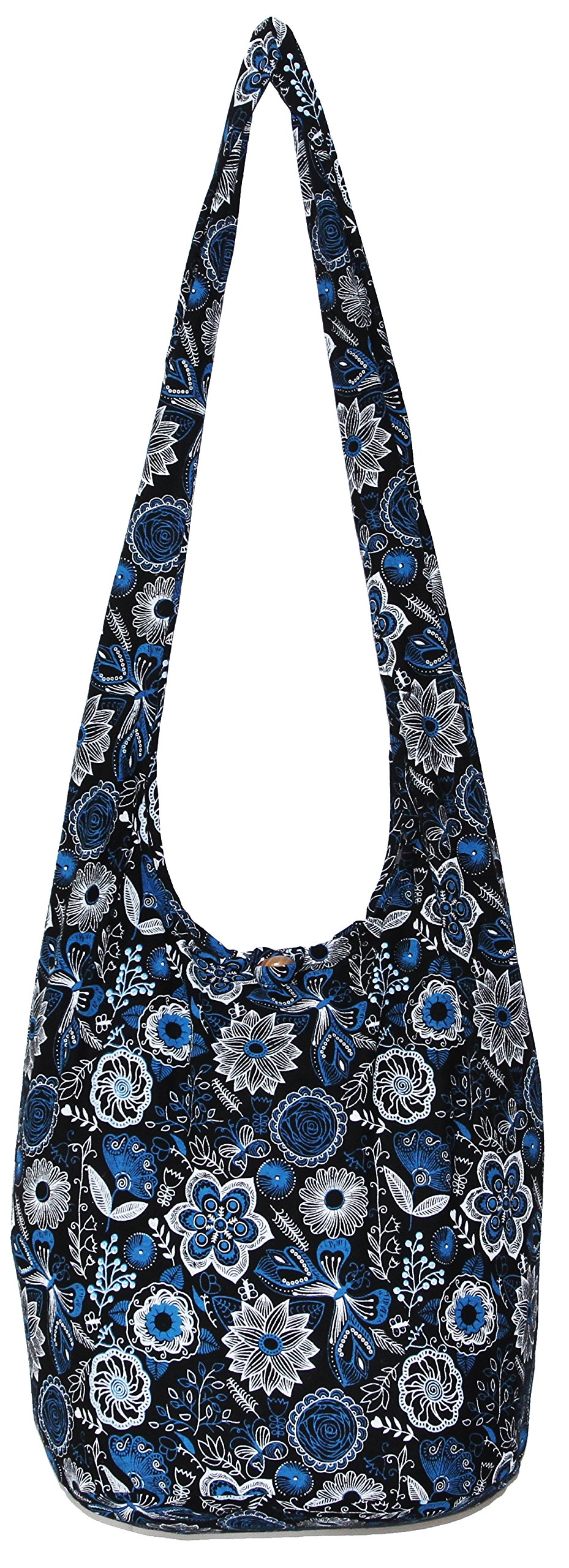 Flower Bohemian Hippie Hipster Hobo Boho Crossbody Shoulder Bag (DarkBlue) by All Best Thing (Image #1)