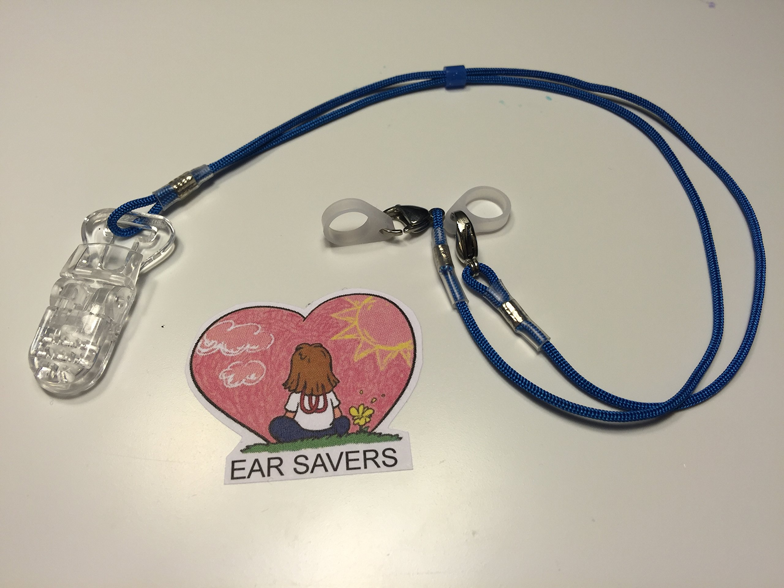 Blue Bilateral Lanyard Clip for Hearing Aids or Cochlear Implants