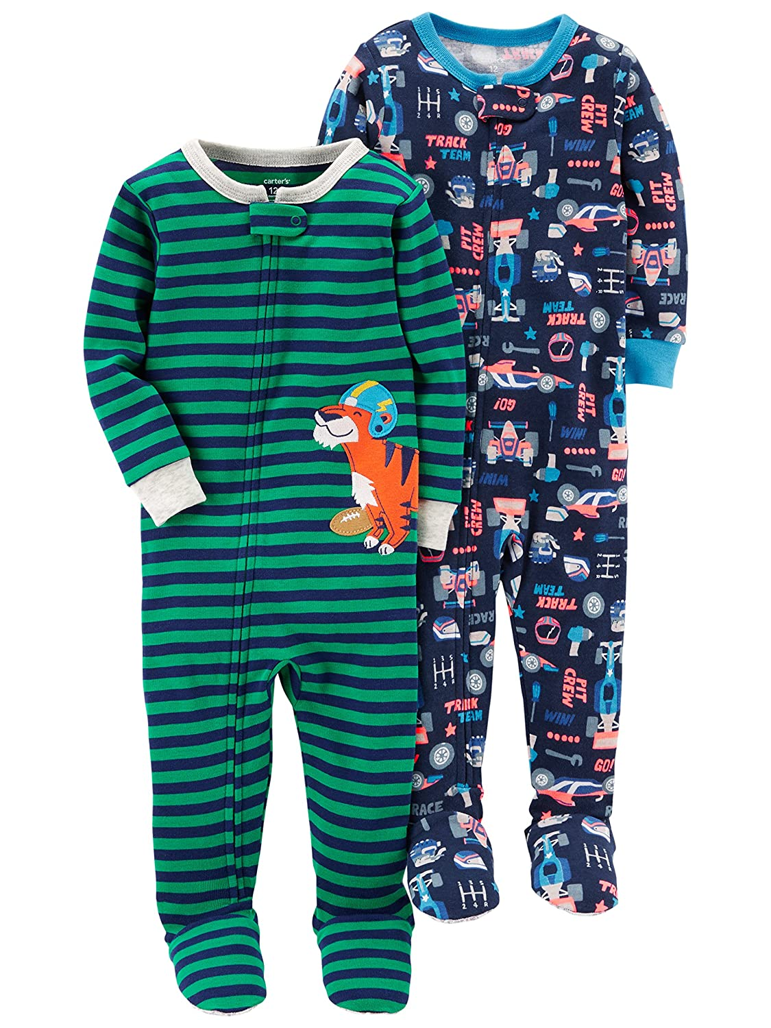 97a445a9b Amazon.com  Carter s Baby Boys  2-Pack Cotton Footed Pajamas  Clothing