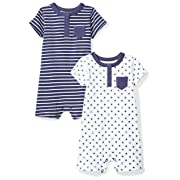 Moon and Back Baby Set of 2 Organic Rompers, Navy Sea, Newborn