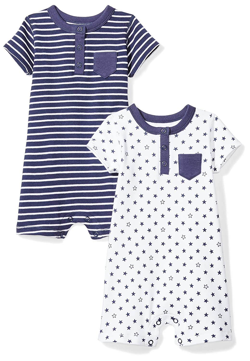 Moon and Back Baby Set of 2 Organic Rompers BSR11-2PK-SSSA