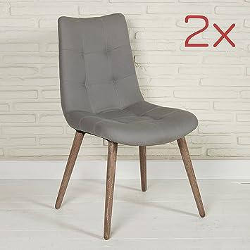 2 Moderne Esszimmerstühle Aus Stoff In Grau Mit Holzbeinen Für Ihr