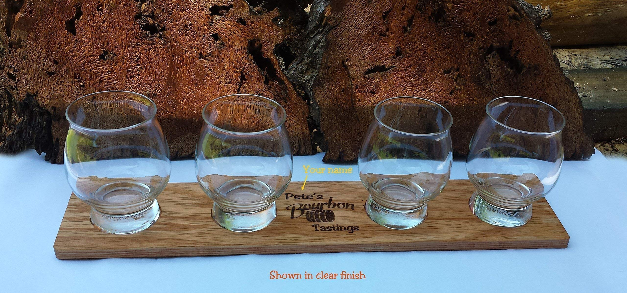 Laser Engraved Personalized Oak Bourbon Tasting Tray with glasses by Precision Wood Carving (Image #2)