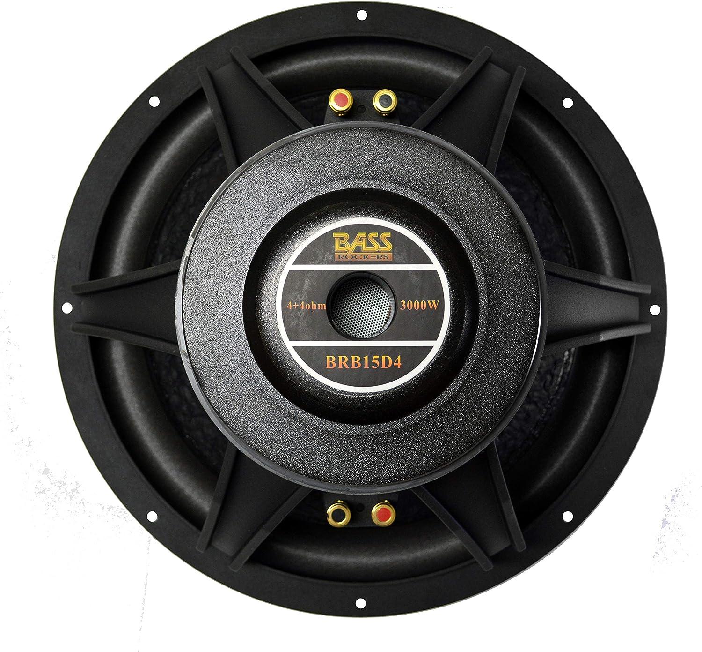 """Dual-Coil 4+4 Ohm Car Subwoofer Black 1200W RMS Bass Rockers BRB15D4 15/"""" 3000W"""