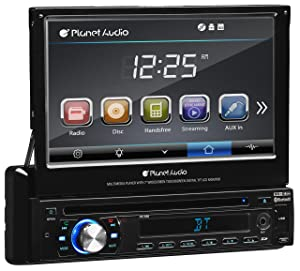Planet Audio P9759B Single Din, Touchscreen, Bluetooth, DVD/CD/MP3/USB/SD AM/FM Car Stereo, 7 Inch Digital LCD Monitor, Detachable Front Panel, Wireless Remote