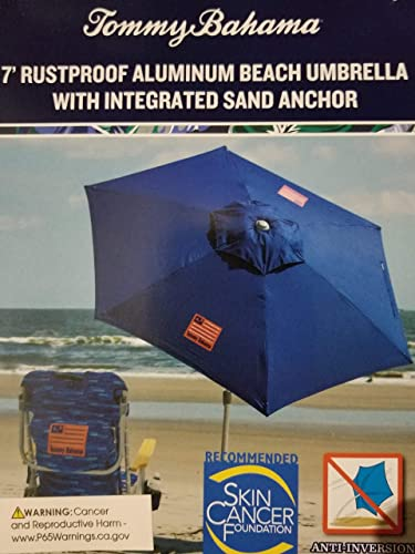Tommy Bahama 2020 Sand Anchor 7 Feet Beach Umbrella with Tilt and Telescoping Pole Solid Blue