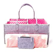 Large Portable Baby Diaper Caddy Organizer With Bonus Changing Pad & Wallet – Cute Polka Dots, Reinforced Handles, Sturdy Bottom – For Boys, Girls, Nursery, Baby Showers, Baby Registry, Storage & More