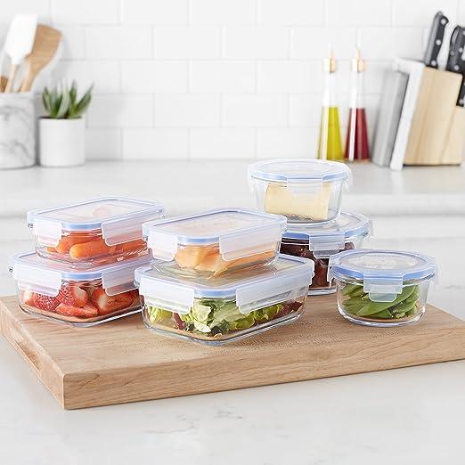 AmazonBasics - Recipientes de cristal para alimentos, con cierre ...
