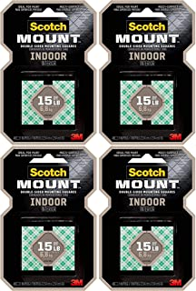 product image for Scotch Indoor Mounting Tape, Holds up to 6 pounds, 1x1 inch, 48 Squares - 4 Pack