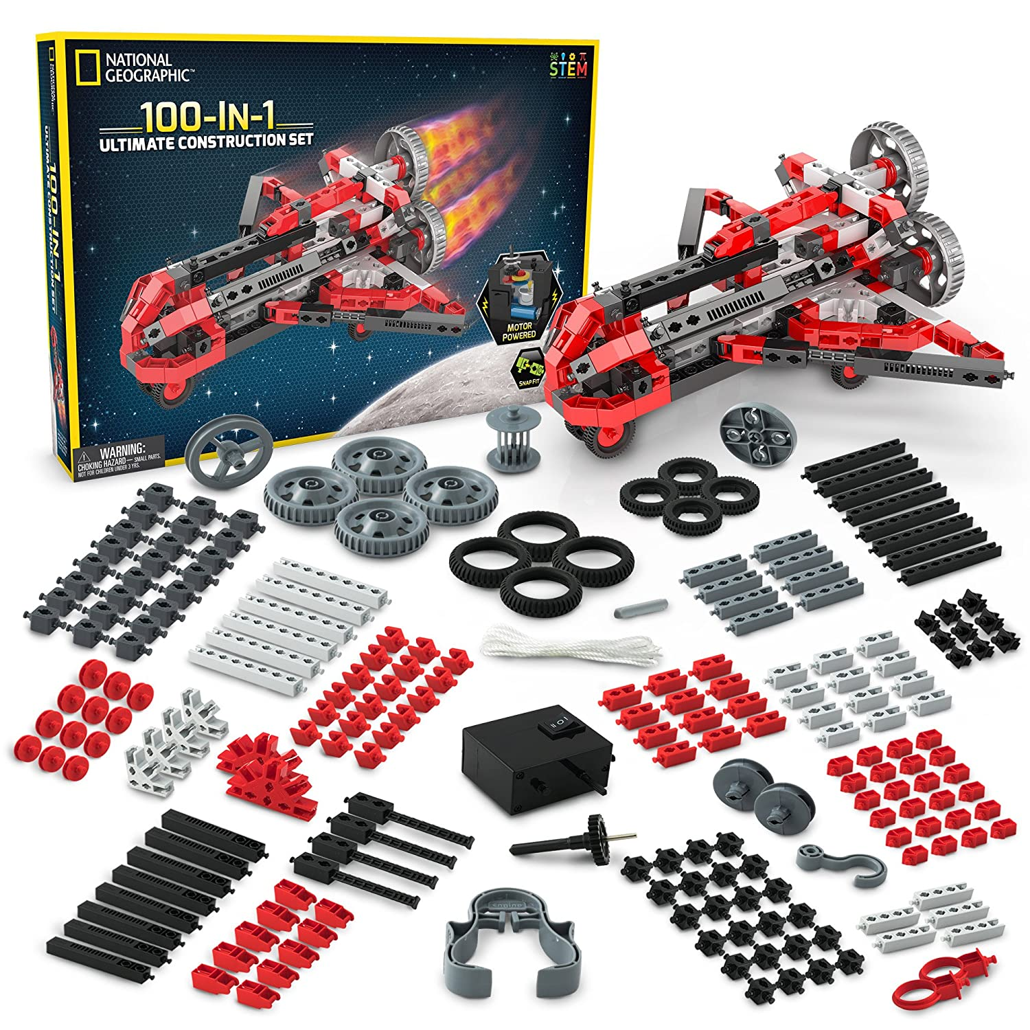 STEM Learning Animals and More Cars National Geographic Ultimate Construction Engineering Set Build 100 Unique Motorized Models: Helicopters