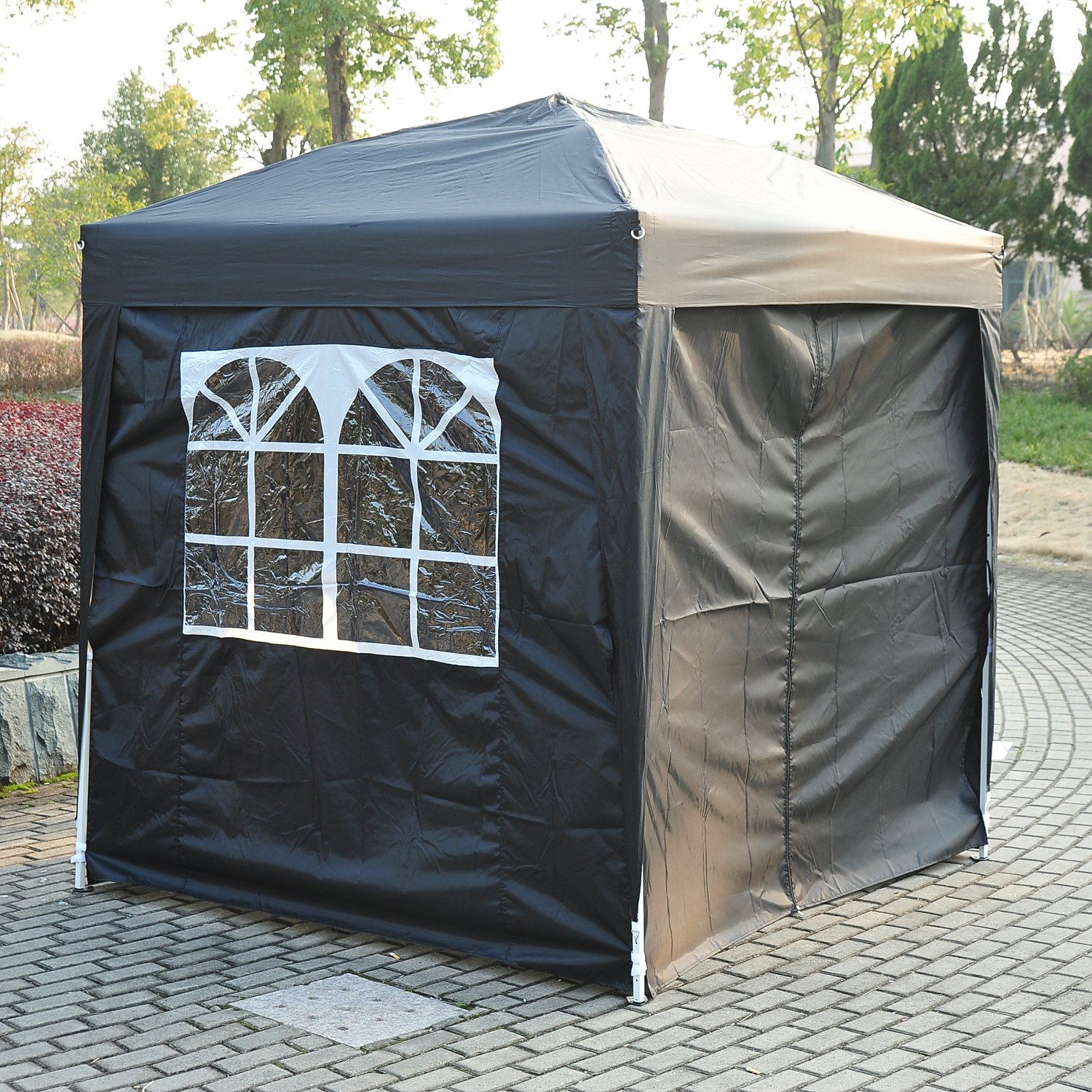 Outsunny 2m X Garden Heavy Duty Pop Up Gazebo Marquee Party Tent Wedding Canopy With Carry Bag Black Removable 2 Windows Doors Amazoncouk
