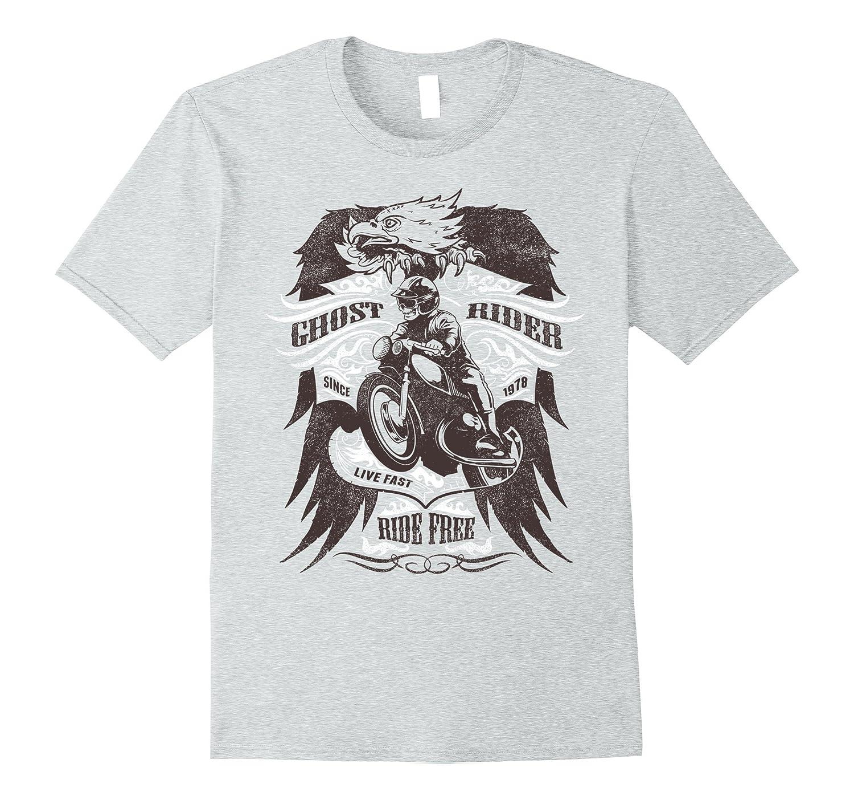 Ghost Vintage Rider Motorcycle Tshirt Ride Free Men Women-FL