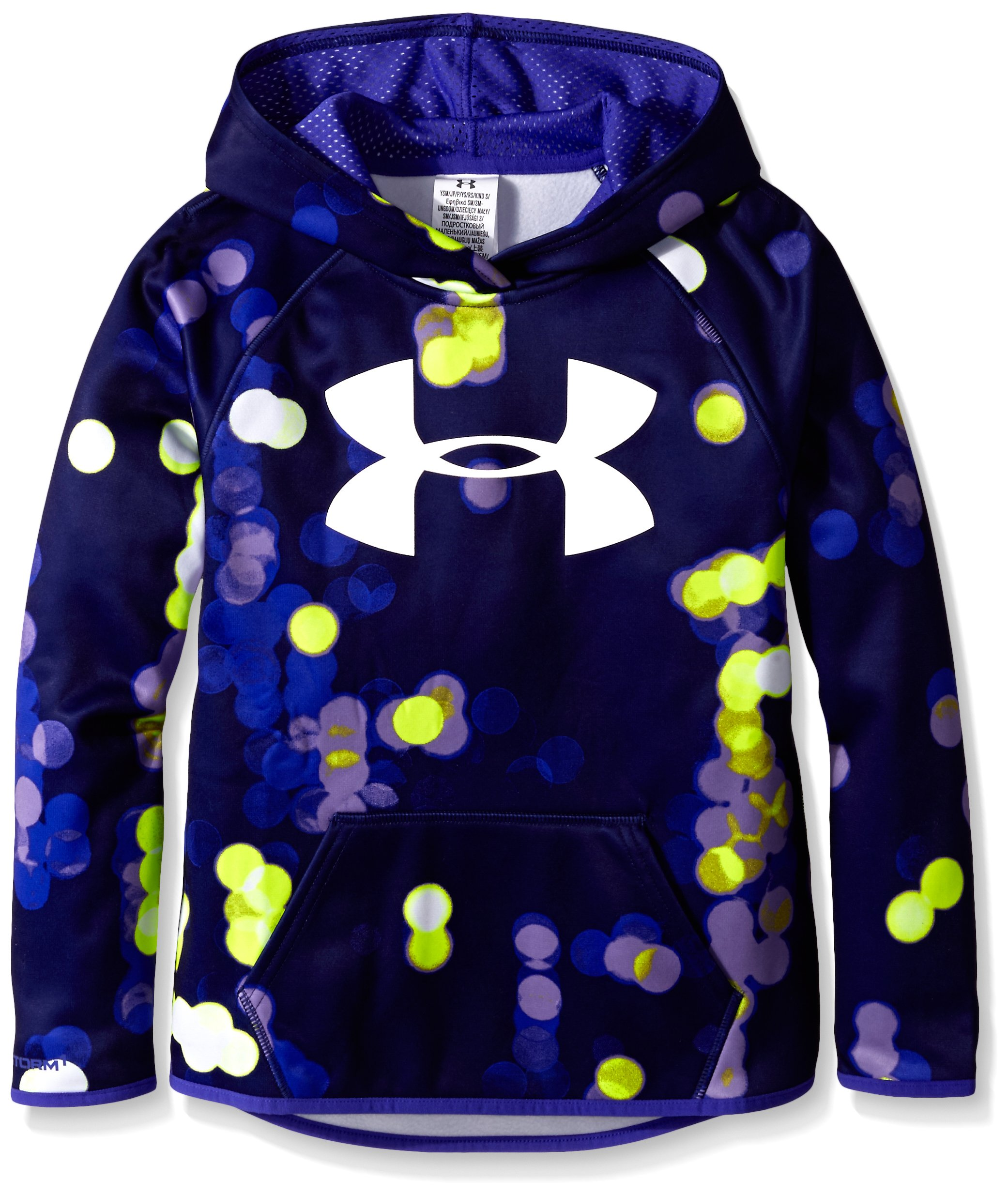 Under Armour Women's Armour Fleece Printed Big Logo Hoodie, Constellation Purple /Vivid Lilac, Youth Small by Under Armour
