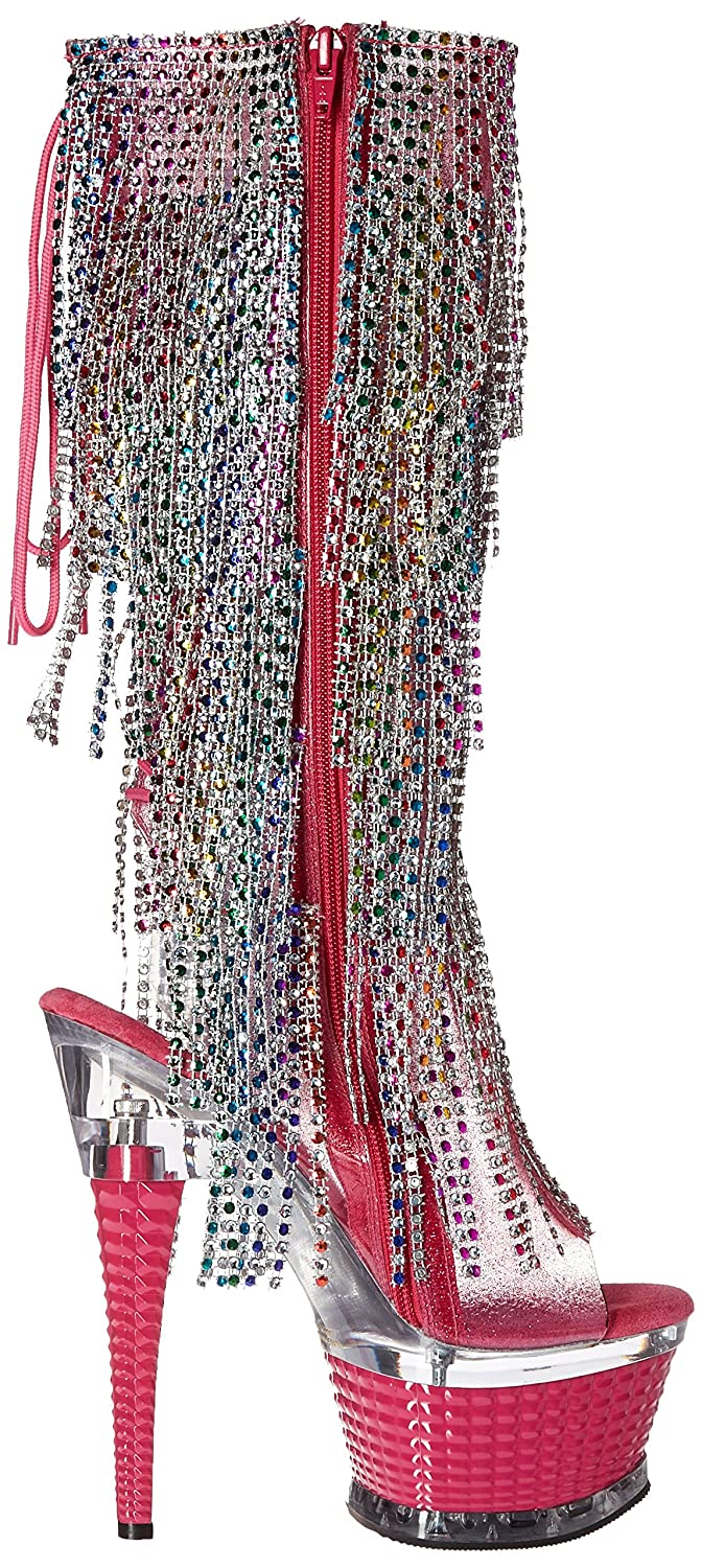 Pleaser Women's Illu2017rsf/hptpu/m Boot Pink B01BM83JP6 6 B(M) US|Holo Pink Boot Tinted Tpu/Multi/Holo Pink 043369