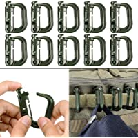 BOOSTEADY 10 Pack Multipurpose D-Ring Grimlock Locking for Molle Webbing with Zippered Pouch