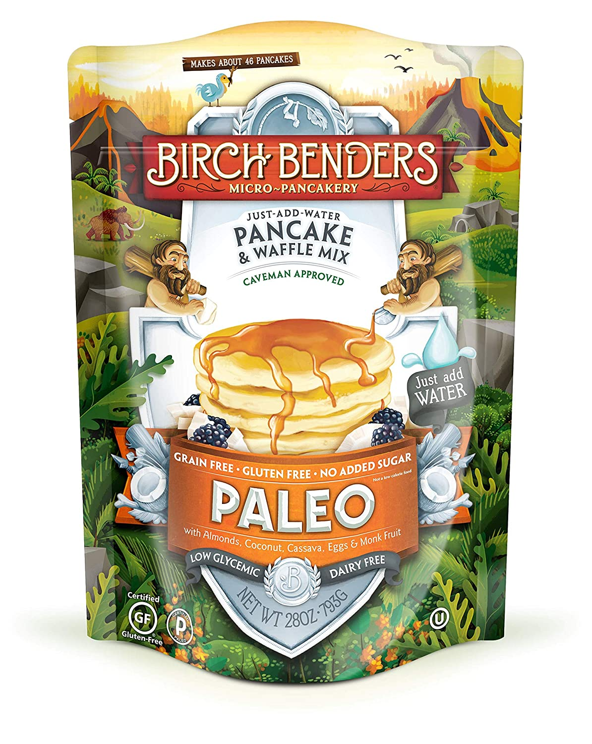 Birch Benders Paleo Pancake Waffle Mix Made With Cassava Coconut Almond Flour Just Add Water 28 Oz Grocery Gourmet Food