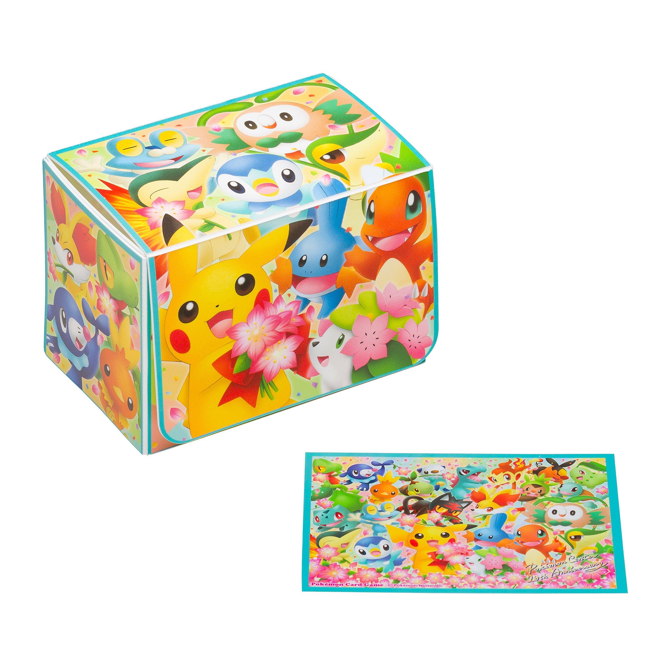 Anime Pokemon Center Original 20th Anniversary Character Card Game 64 pc Sleeves Deck Box Case Holder Sun Moon