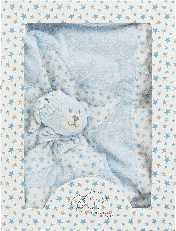 Manta de bebé con diseño de oso de peluche, color azul