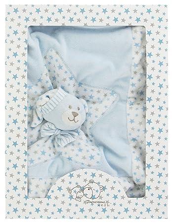 Baby Geschenk Kuscheldecke mit Teddy Applikation Nicki Pl/üsch blau