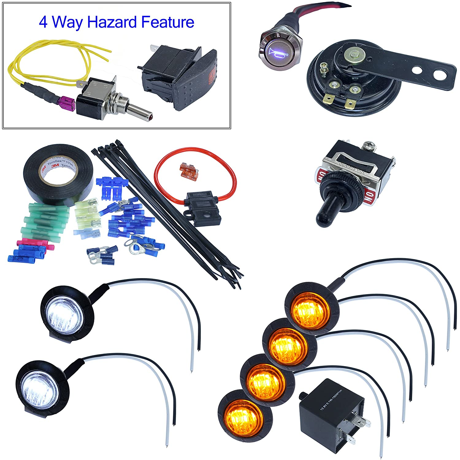 Turn Signal Kits Horn Install Kit Toggle Switch Aftermarket Motorcycle Fuse Box Automotive