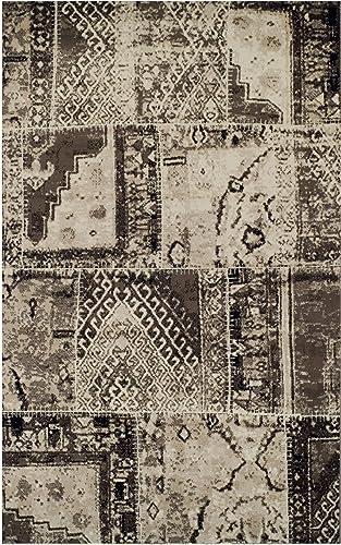 SUPERIOR Designer Parquet Ivory-Brown Area Rug 5' x 8'