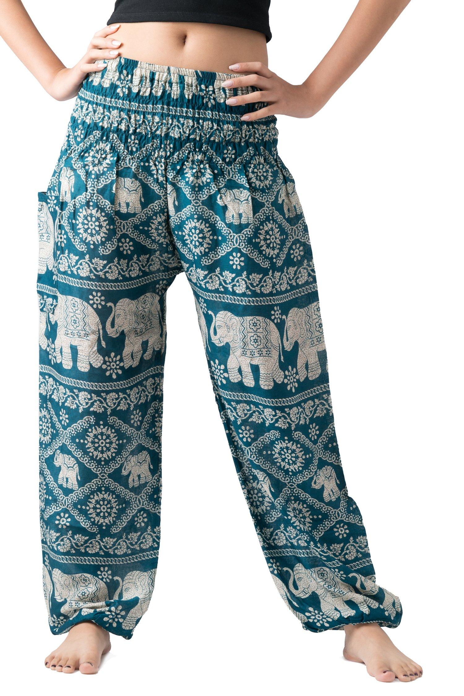 Bangkokpants Women's Yoga Clothing Elephant Pants US Size 0-12 (Green)