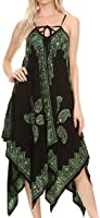 Sakkas Arminat Batik Print Adjustable Strap Embroidered Handkerchief Hem Dress