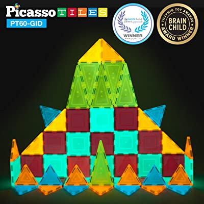 PicassoTiles Kids Toy Building Block Set Glow in The Dark Children Construction Kit Magnet Tiles Magnetic STEM Interlocking Playboard Educational Learning Stacking Blocks Child Brain Development PT60: Toys & Games