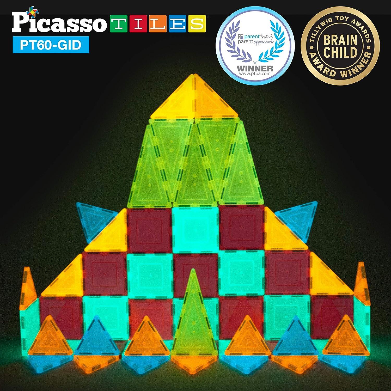 PicassoTiles キッズ玩具ビルディングブロックセット 暗闇で光る 子供用組み立てキット マグネットタイル 磁気ステム インターロッキングプレイボード 教育学習スタッキングブロック 子供の脳開発 PT60   B07K99ZFKL