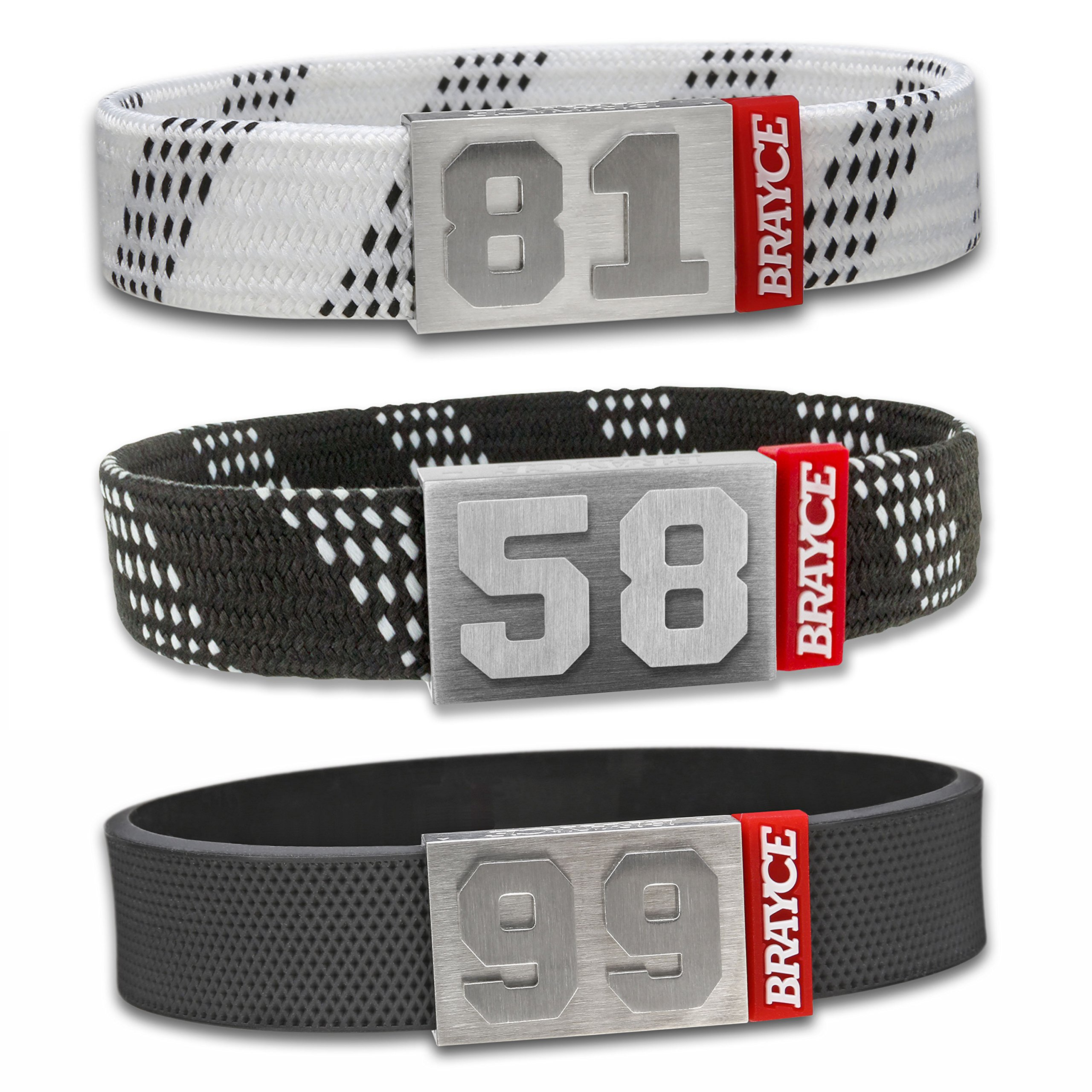 "BRAYCE Hockey: Customize your jersey bracelet with your player number (00-99) Hockey Lace & Puck style (6.3 – 9.1"") official NHL Licensee"