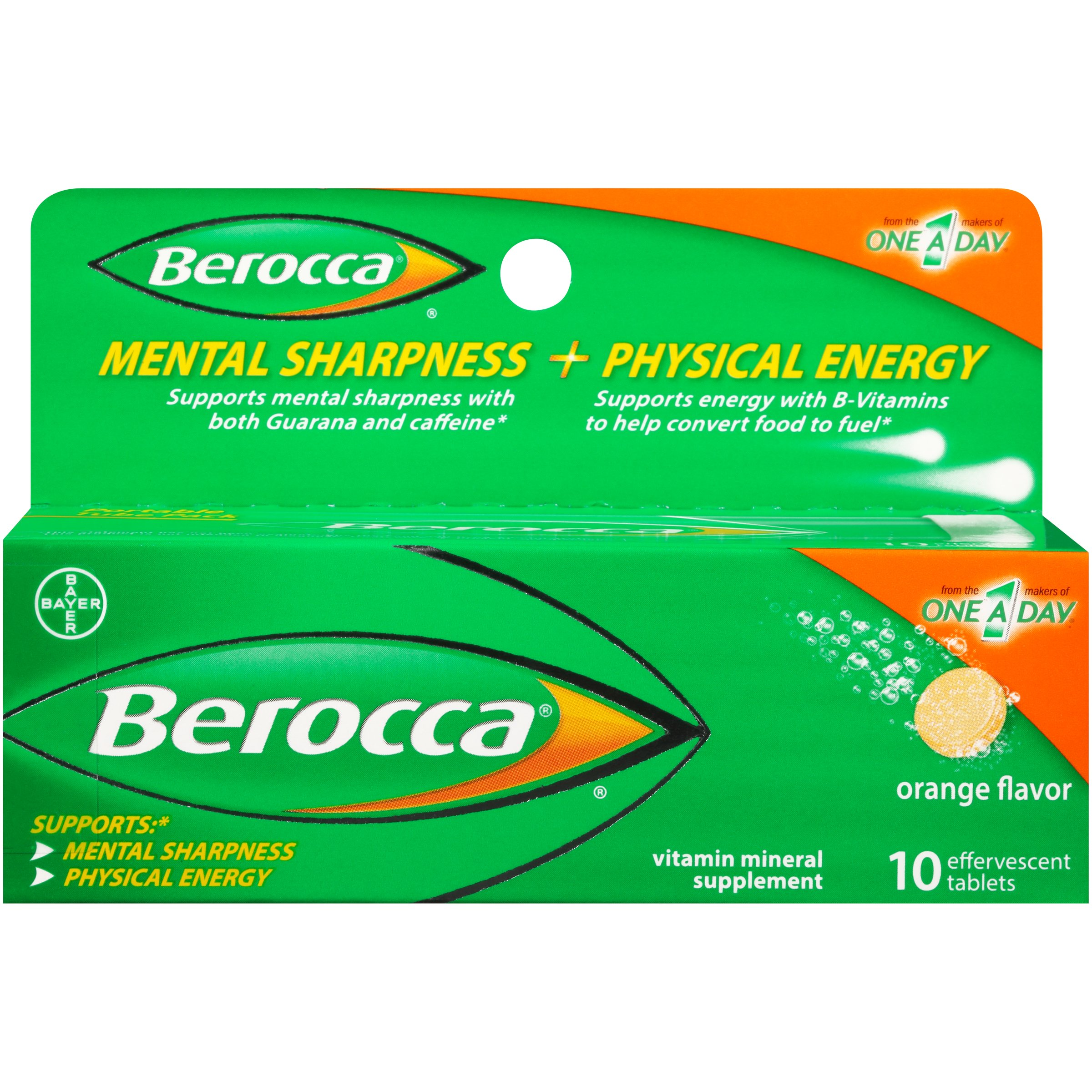 Berocca with Caffeine and Guarana to Support Mental Sharpness and B Vitamins to Support Physical Energy