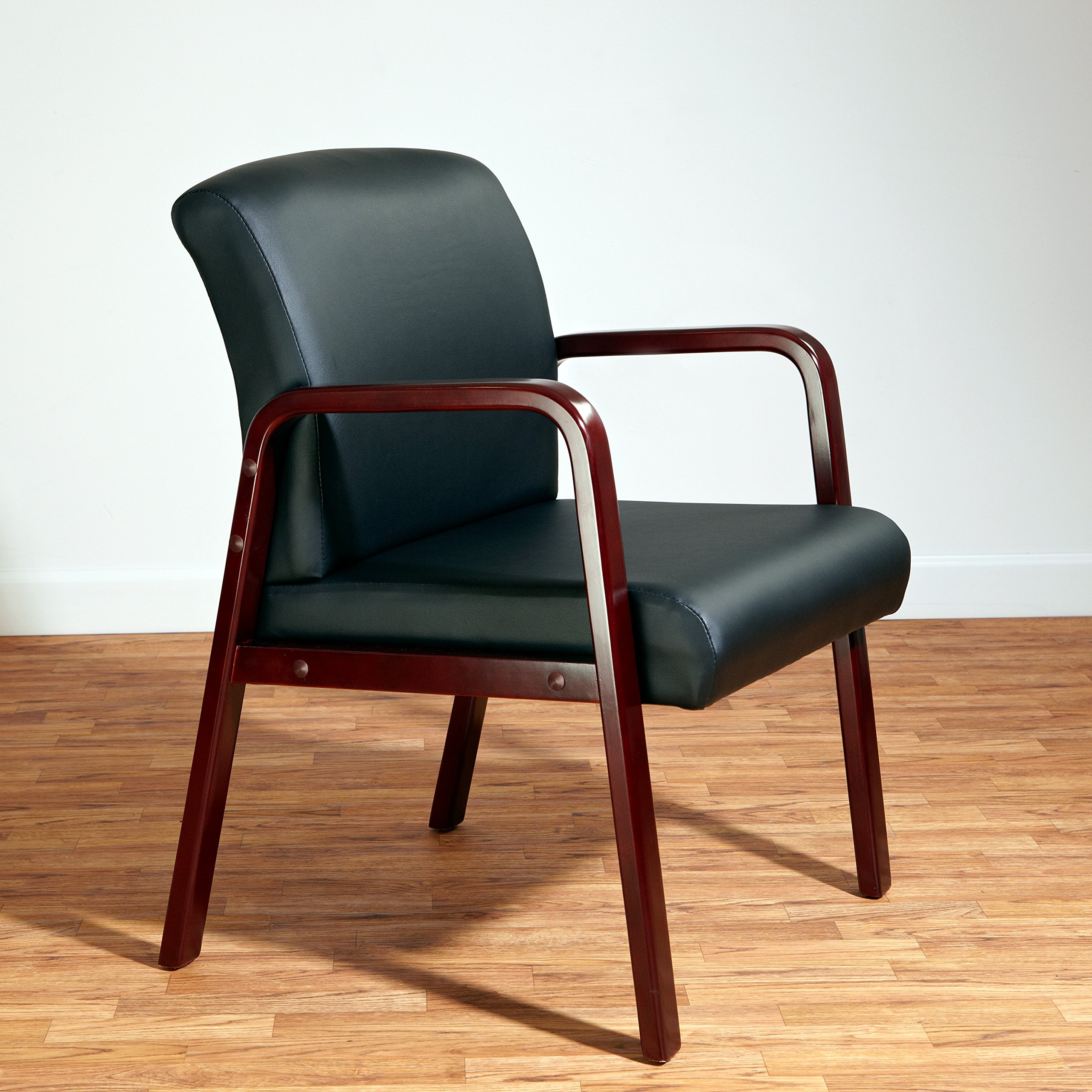 Alera ALERL4319M Reception Lounge Series Guest Chair, Mahogany/Black Leather by Alera (Image #13)
