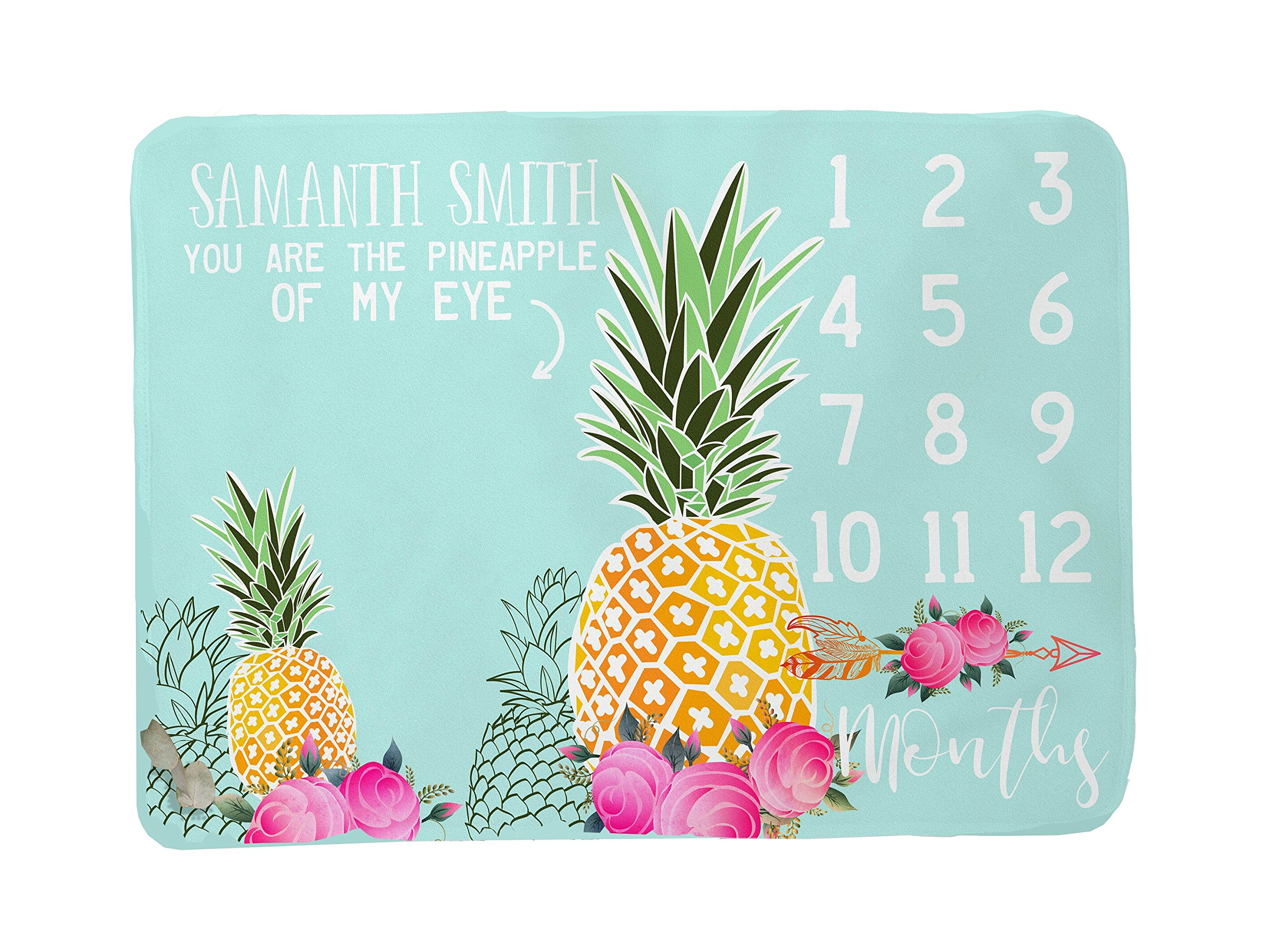 Pineapple Girl Milestone Blanket - Tropical Baby Girl Month Growth -Newborn Photography Backdrop -Personalized Shower Gift -Funny Photo Prop (50x60) Blue by Sobilar