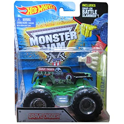 Hot Wheels Monster Jam 2015 Off-Road Grave Digger (with Snap-On Battle Slammer) 1:64 Scale, Black and Green: Toys & Games