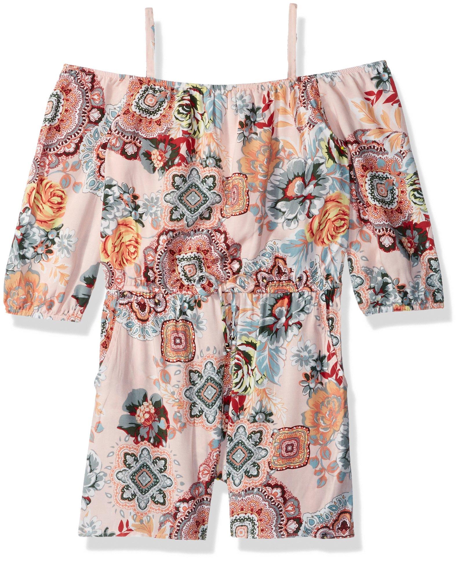 Amy Byer Big Girls' Long Sleeve Off Shoulder Print Romper, Sage/Coral Mandala Floral, S