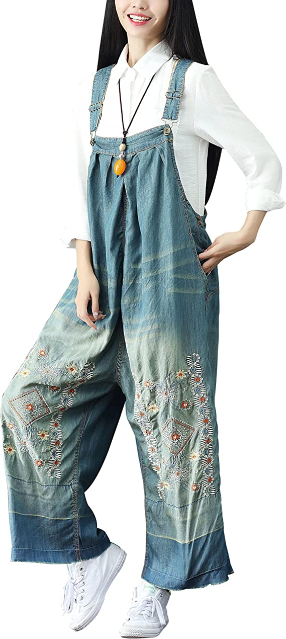 Cottagecore Clothing, Soft Aesthetic Yeokou Womens Loose Baggy Denim Wide Leg Drop Crotch Jumpsuit Rompers Overalls $39.99 AT vintagedancer.com