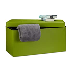 Relaxdays Faltbare Sitzbank 38 x 78 x 38 cm HxBxT, 2-Sitzer m. Stauraum, Kunstleder Sitzhocker 300 kg belastbar, grün Banco Asiento Plegable, Piel Sintética, Verde, 76x38x38 cm