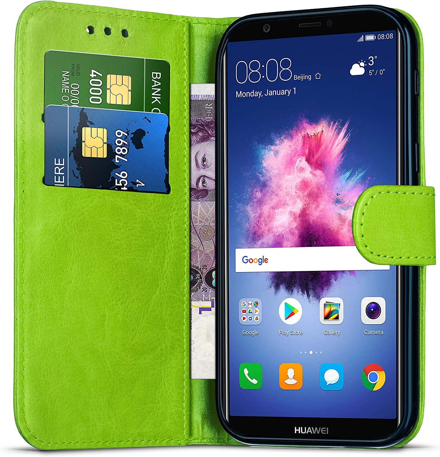 Huawei P Smart 2018 Case Stand Case Magnetic Closure Wallet Cover with Card Holder Slots for Huawei P Smart 2018 // LX2 // LX3 // L23 Protective Shockproof Case Leather Flip Folio Case Green