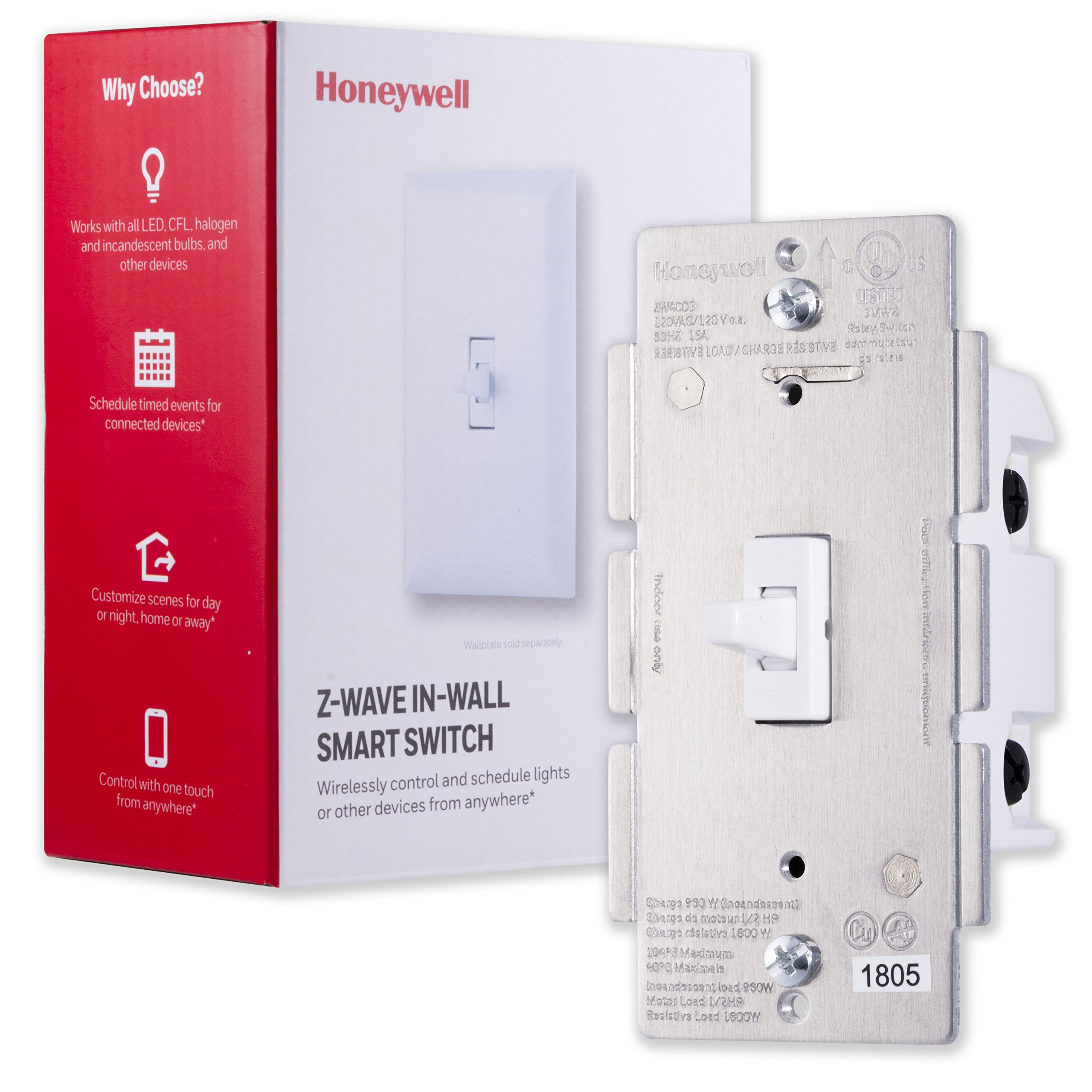 Honeywell Z-Wave Plus On/Off Smart Light Switch, In-Wall Toggle |Built-In Repeater  Range Extender | Requires Neutral Wire | ZWave Hub Required - SmartThings, Wink, Alexa Compatible, 39354