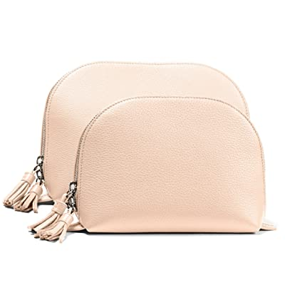 Clamshell Makeup Bag Set - Full Grain Leather Leather - Rose (pink)