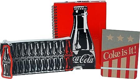 Coca Cola Coke 3 piezas escuela Kit – Estuche, cuaderno, cubierta de libro: Amazon.es: Hogar