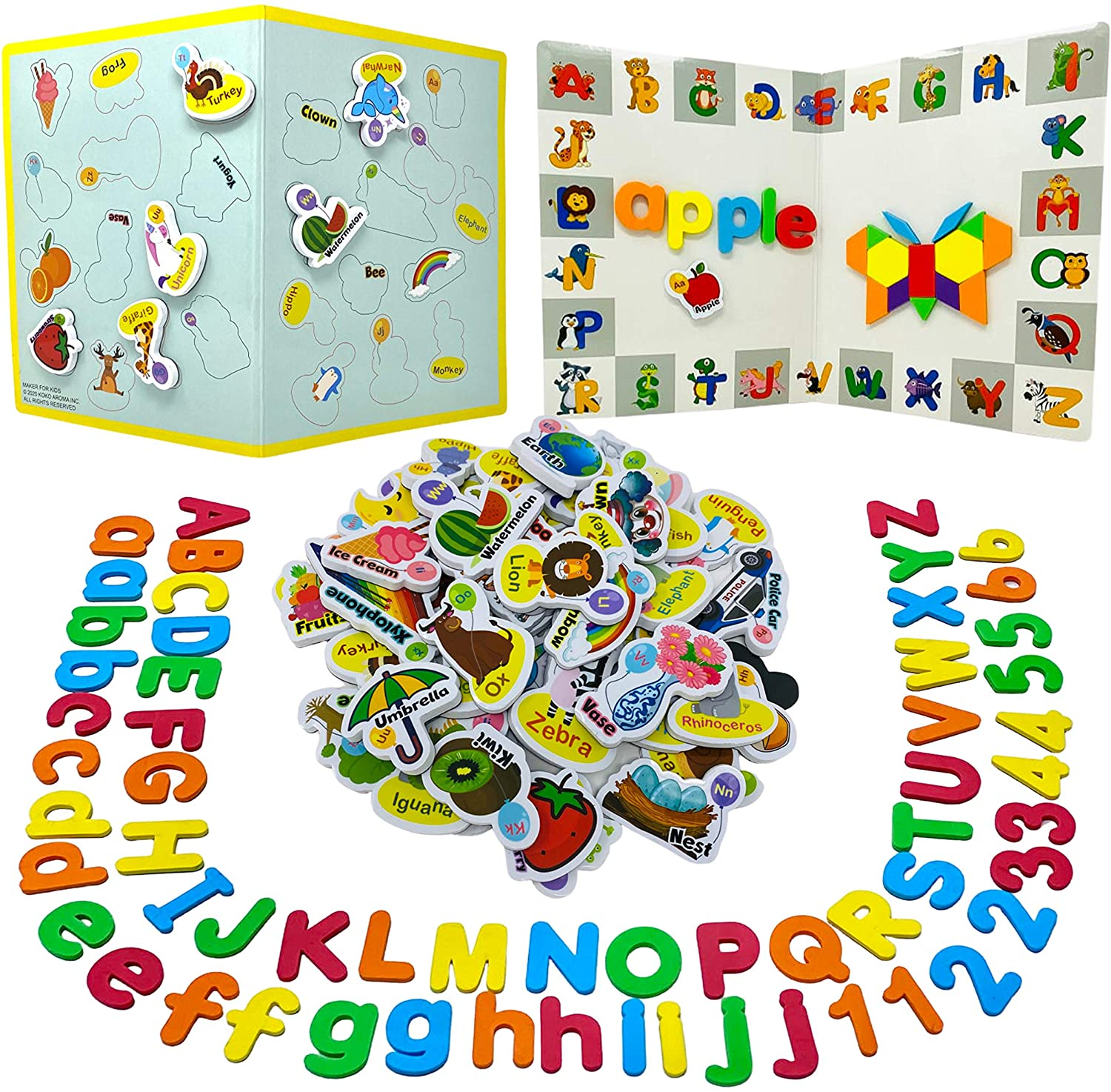 210Pcs Magnetic Letters Numbers, Picture Magnets and Shapes for Kids with Double-Sided Magnet Board - ABC Uppercase Lowercase Foam Alphabet for Kids - Spelling Learning Set in Classroom at Home