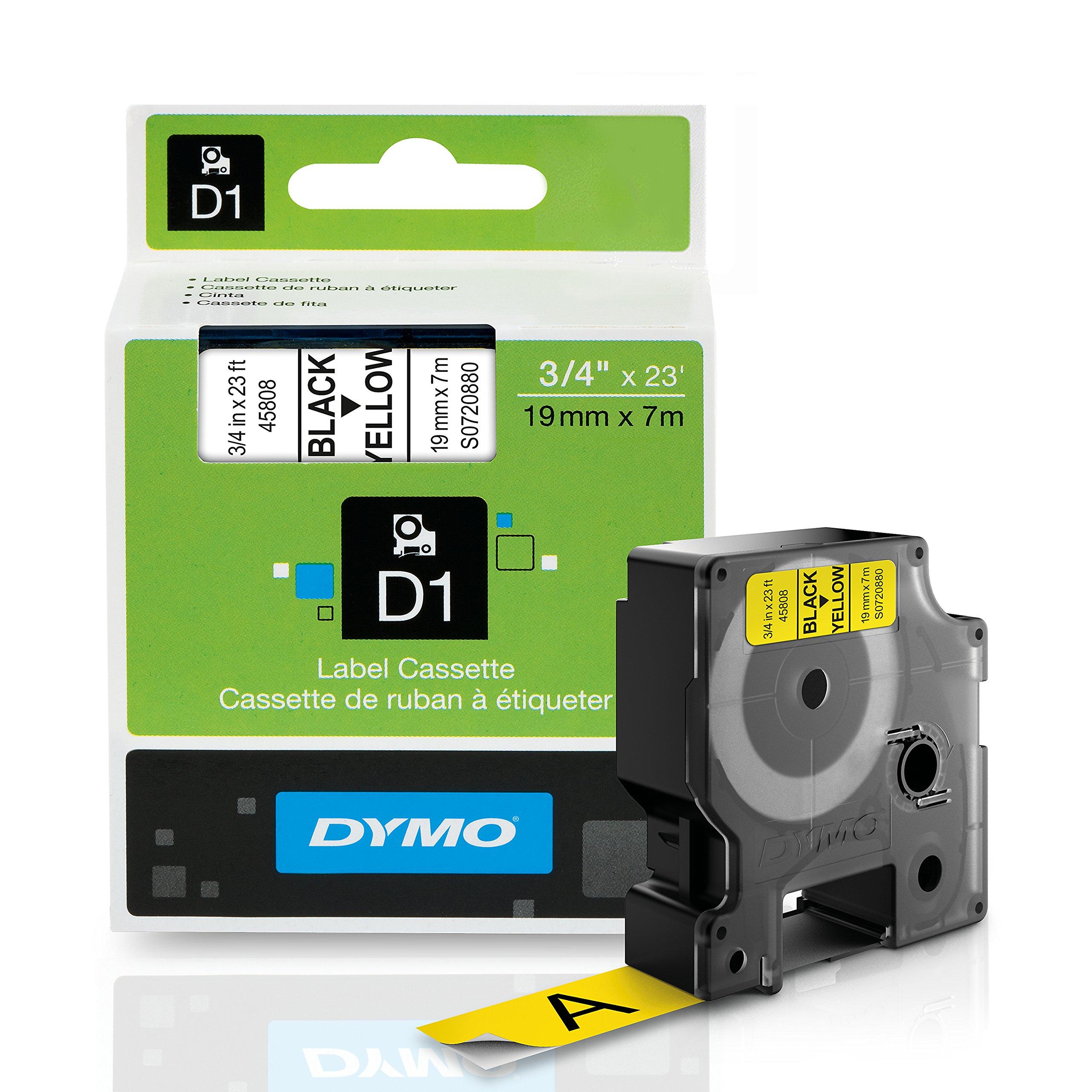 DYMO Standard D1 45808 Labeling Tape (Black Print on Yellow Tape, 3/4'' W x 23' L, 1 Cartridge)