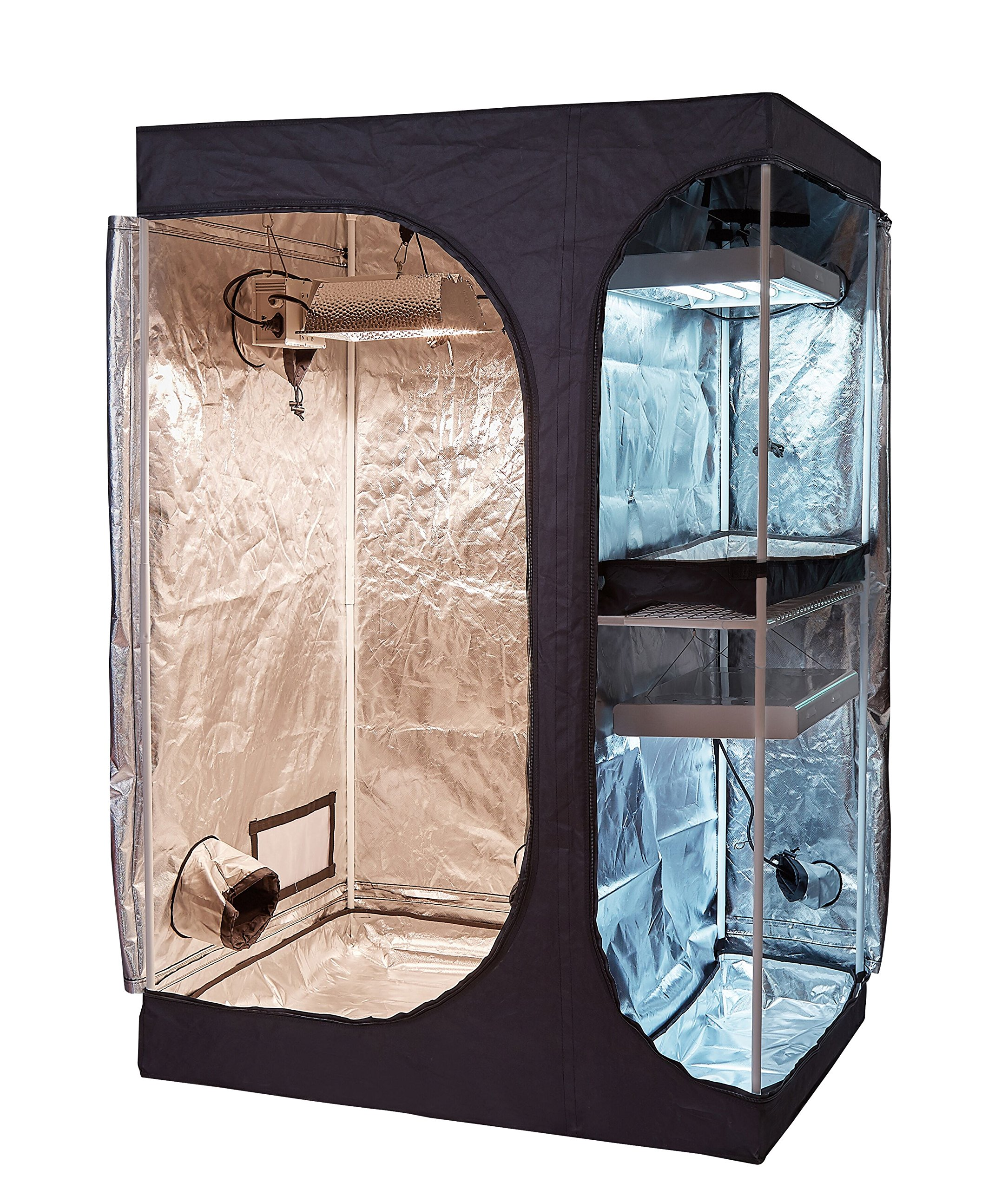 PrimeGarden Hydroponic 36''X24''X53'' 2-in-1 Water-Resistant 600D High-Reflective Mylar Grow Tent Non Toxic Indoor Room with Removable Floor Tray for Indoor Plant Growing (36''X24'X53'')