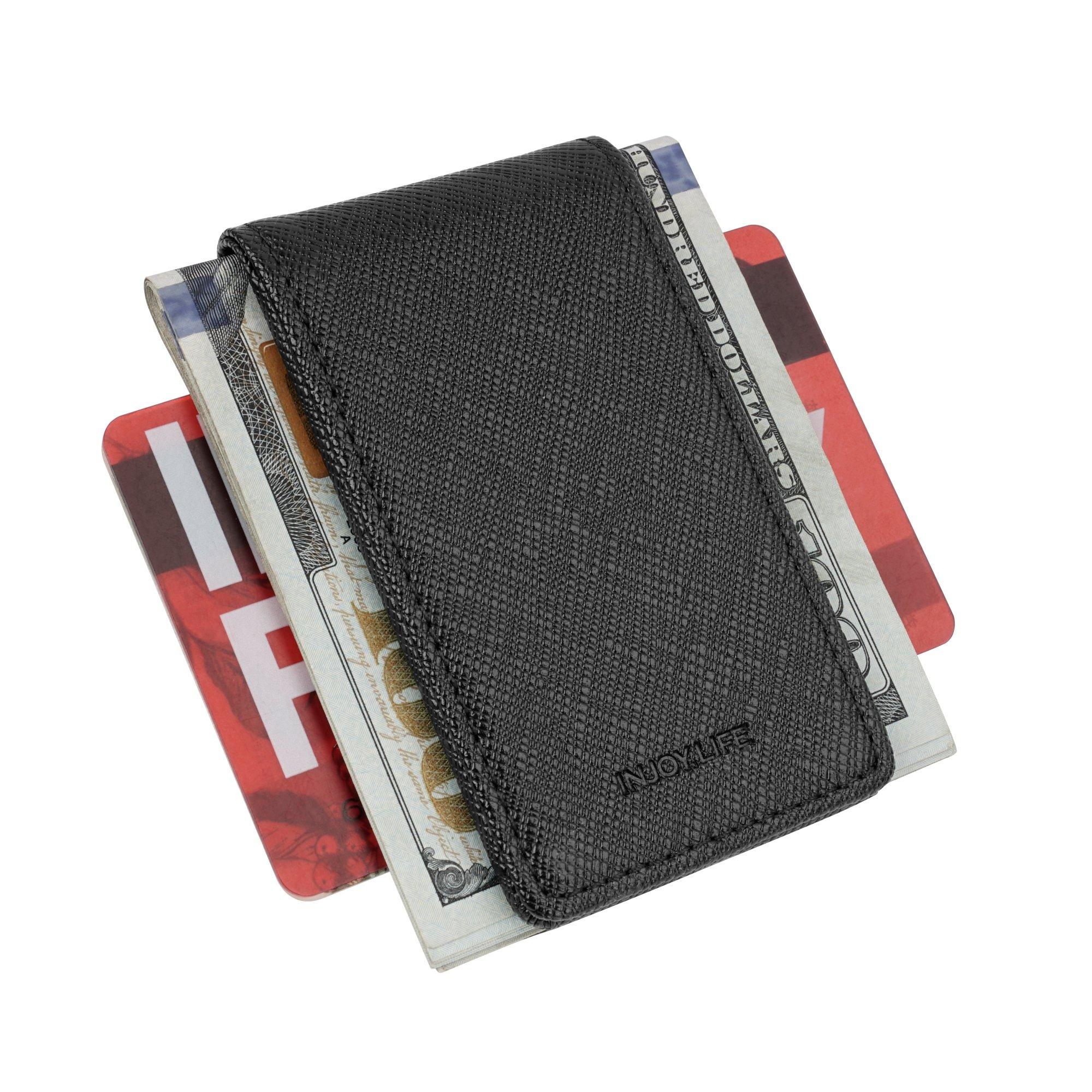 INJOYLIFE Leather Magnetic Slim Pocket Money Clip Holder Hot Sale Wallet for Men (Black) by INJOYLIFE