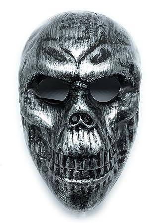 CS mascarilla de protección Halloween Airsoft Paintball Full Face Skull Máscara de esqueleto (Gris Metal
