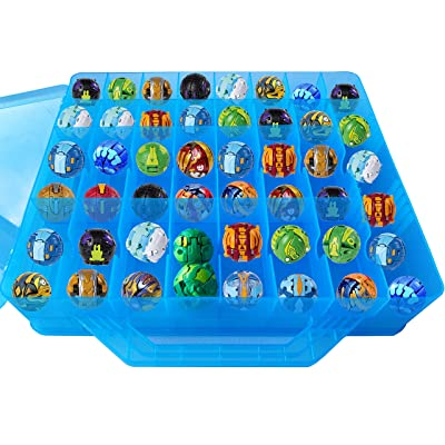 HOME4 Double Sided BPA Free Toy Storage Container - Compatible with Bakugan, Mini Toys, Small Dolls - Toy Organizer Carrying Case - 48 Compartments (Blue): Baby