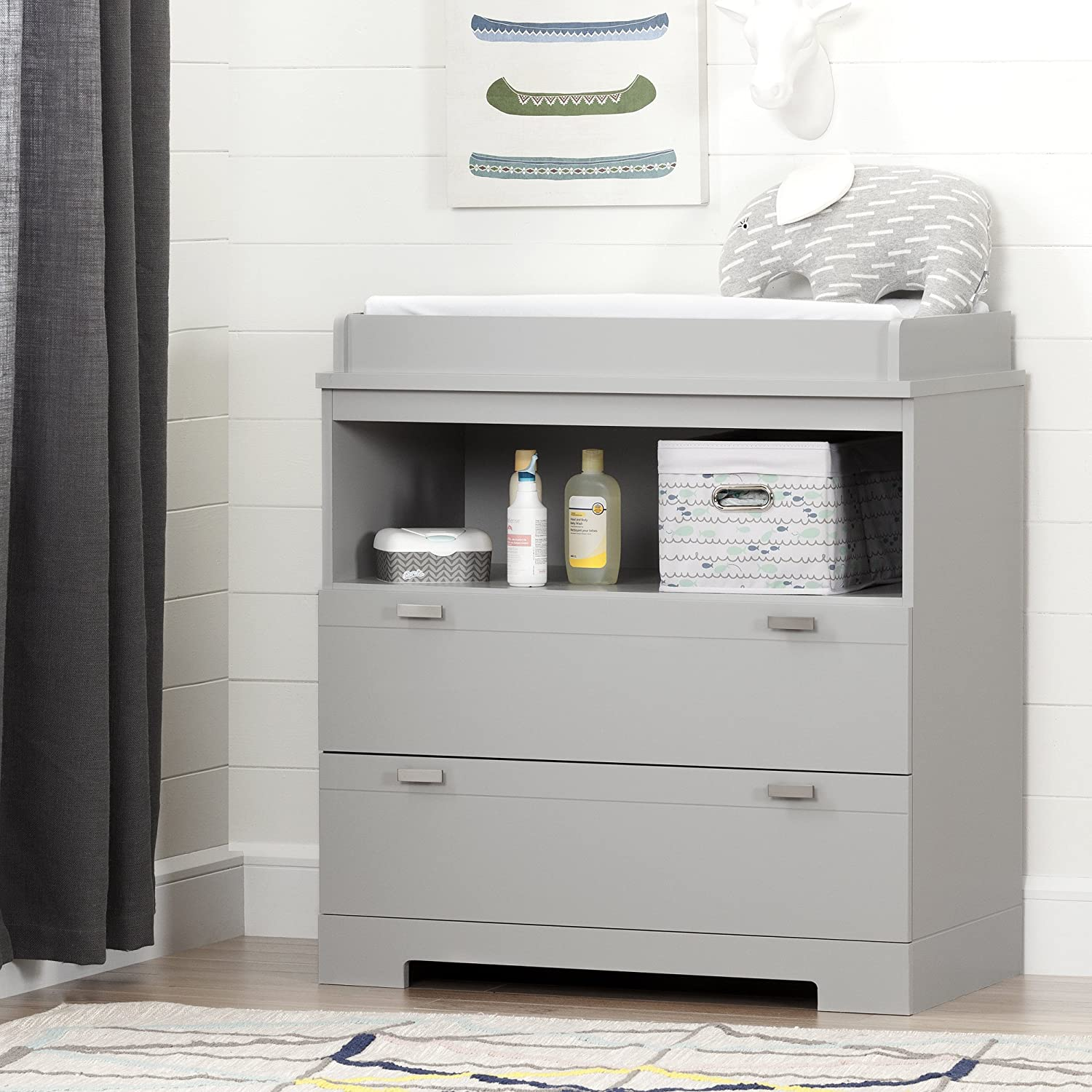 Soft Gray South Shore Reevo Changing Table and Dresser with Drawers