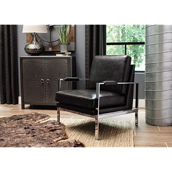 Ashley Furniture Signature Design - Network Accent Chair - Mid Century Modern - Black - Silver Legs