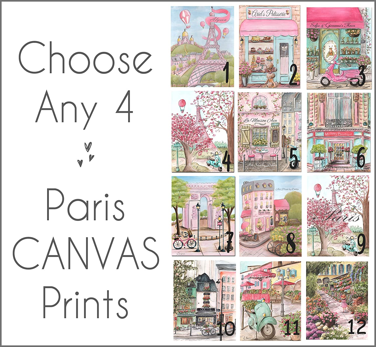 Image of Paris Canvas Wall Art, Choose Any 4, Pink Girls Bedroom Travel Theme Decor, Personalize With Custom Name, 1.5' Thick Museum Wrapped, 5 Sizes Home and Kitchen